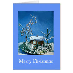 Vintage Christmas Snow Covered Cottage Model Card at Zazzle