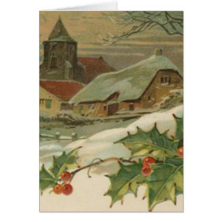 Vintage Christmas Snow Covered Town Card