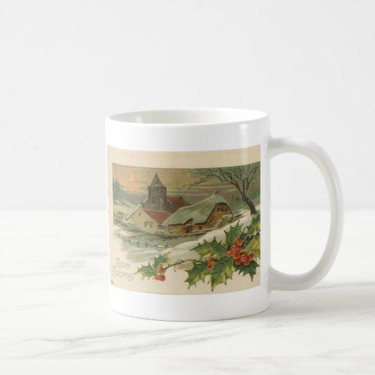 Vintage Christmas Snow Covered Town Coffee Mug