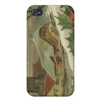 Vintage Christmas Snow Covered Town iPhone 4 Case