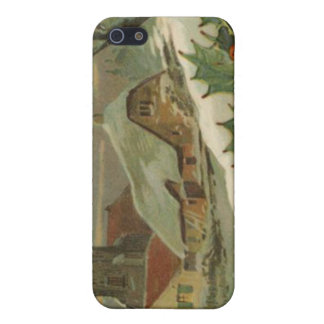 Vintage Christmas Snow Covered Town iPhone 5 Cover