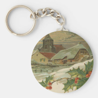 Vintage Christmas Snow Covered Town Keychains