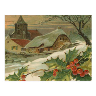Vintage Christmas Snow Covered Town Postcard