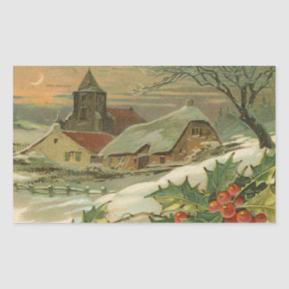 Vintage Christmas Snow Covered Town Rectangular Sticker