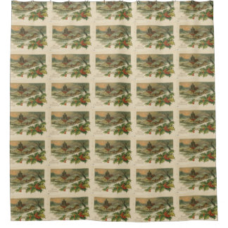 Vintage Christmas Snow Covered Town Shower Curtain
