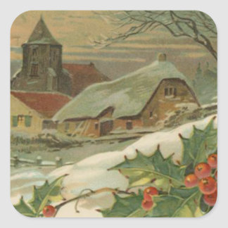 Vintage Christmas Snow Covered Town Square Sticker