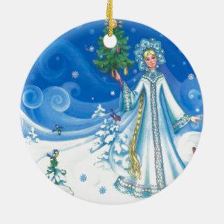 Vintage Christmas, Snow maiden Ceramic Ornament