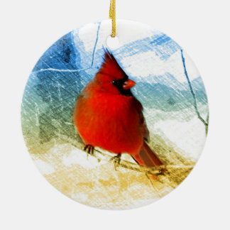 vintage christmas snow red cardinal ornament