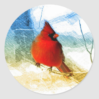 vintage christmas snow red cardinal round stickers