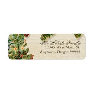 Vintage Christmas Snow Skating Custom Gift Tags Label