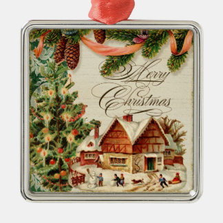 Vintage Christmas Snow Skating Custom Ornament