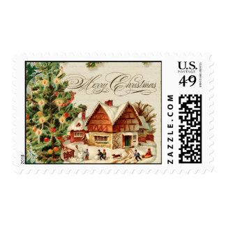 Vintage Christmas Snow Skating Custom Stamps