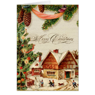 Vintage Christmas Snow Skating Personalized Card