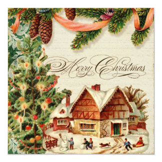 Vintage Christmas Snow Skating Personalized Card Invitations