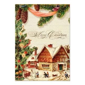 Vintage Christmas Snow Skating Personalized Card Custom Invitations