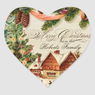 Vintage Christmas Snow Skating Personalized Card Heart Sticker