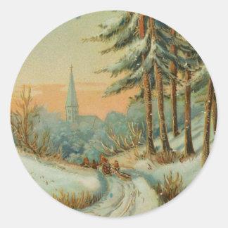 Vintage Christmas Snow Trail Classic Round Sticker