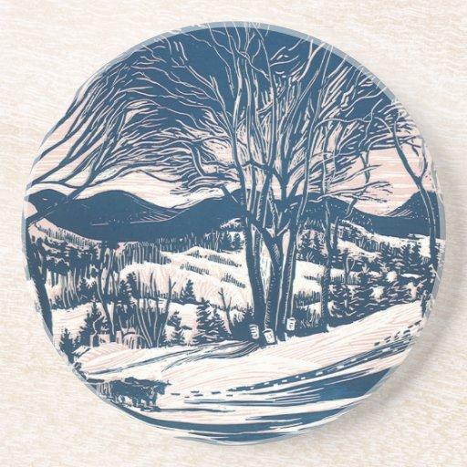 Vintage Christmas, Snow Trees Mountain Landscape Coaster