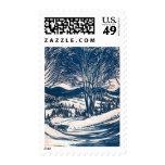 Vintage Christmas, Snow Trees Mountain Landscape Postage