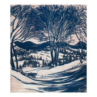 Vintage Christmas, Snow Trees Mountain Landscape Posters