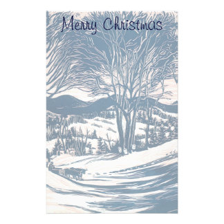 Vintage Christmas, Snow Trees Mountain Landscape Customized Stationery