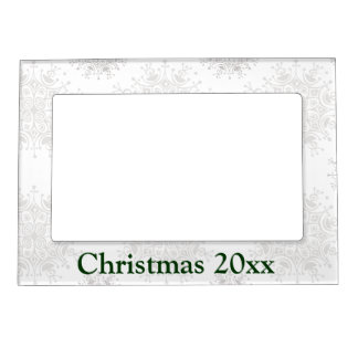 Vintage Christmas, Snowflakes Blizzard Pattern Magnetic Frame
