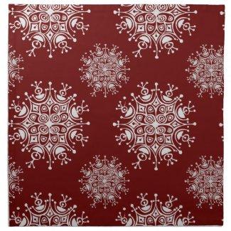 Vintage Christmas Snowflakes Blizzard Pattern Napkins
