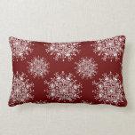 Vintage Christmas Snowflakes Blizzard Pattern Throw Pillow
