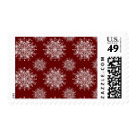 Vintage Christmas Snowflakes Blizzard Pattern Postage Stamps