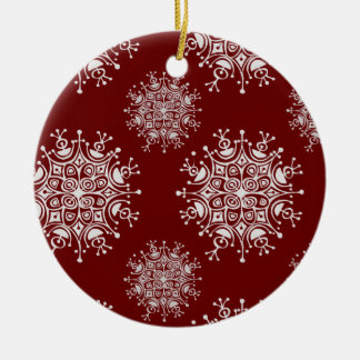 Vintage Christmas Snowflakes Red Blizzard Pattern Ceramic Ornament