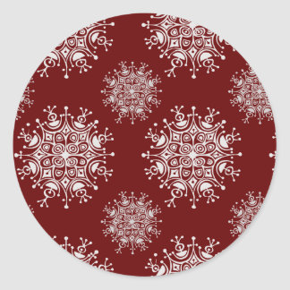 Vintage Christmas Snowflakes Red Blizzard Pattern Classic Round Sticker