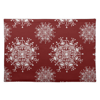 Vintage Christmas Snowflakes Red Blizzard Pattern Cloth Placemat