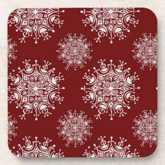 Vintage Christmas Snowflakes Red Blizzard Pattern Coaster