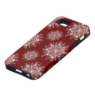 Vintage Christmas Snowflakes Red Blizzard Pattern iPhone 5 Cover