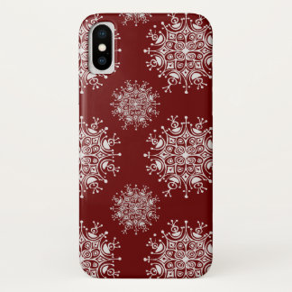 Vintage Christmas Snowflakes Red Blizzard Pattern iPhone X Case