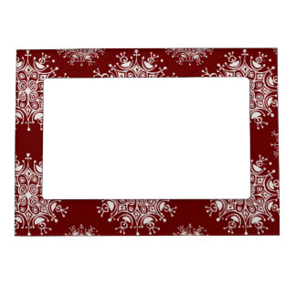 Vintage Christmas Snowflakes Red Blizzard Pattern Magnetic Picture Frame