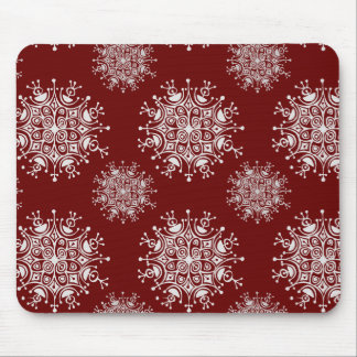 Vintage Christmas Snowflakes Red Blizzard Pattern Mouse Pad
