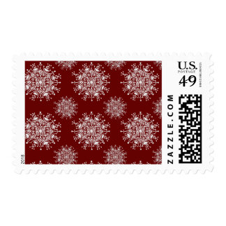 Vintage Christmas Snowflakes Red Blizzard Pattern Postage