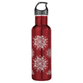 Vintage Christmas Snowflakes Red Blizzard Pattern Stainless Steel Water Bottle