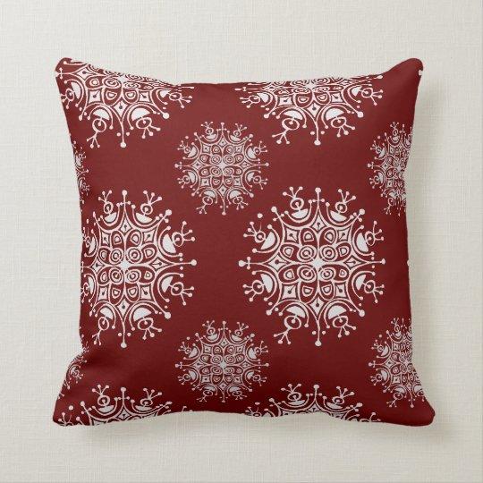 Vintage Christmas Snowflakes Red Blizzard Pattern Throw Pillow