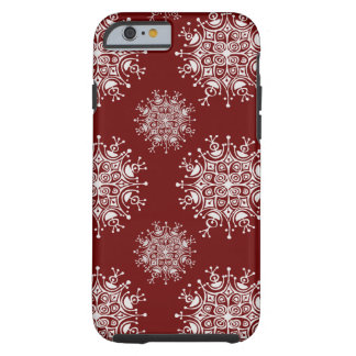Vintage Christmas Snowflakes Red Blizzard Pattern Tough iPhone 6 Case