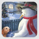 Vintage Christmas Snowman And Dog Square Sticker