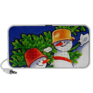 Vintage Christmas, Snowman band Portable Speakers