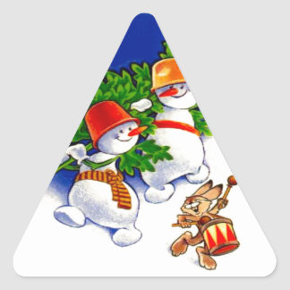 Vintage Christmas, Snowman band Triangle Sticker