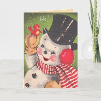 Vintage Christmas Snowman Card card