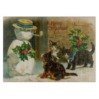 Vintage Christmas Snowman & Cats Cutting Board