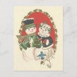 "Vintage Christmas Snowman Couple Holiday Postcard<br><div class=""desc"">Adorable Vintage Christmas Snow Couple image.</div>"
