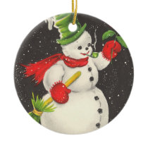 Vintage Christmas Snowman Customizable Ceramic Ornament