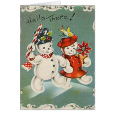 Vintage Christmas Snowman Greeting Card at Zazzle