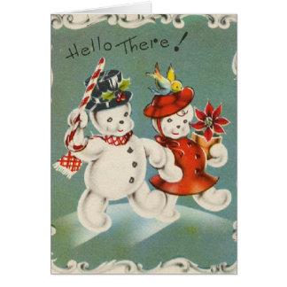 Vintage Christmas Snowman Greeting Card